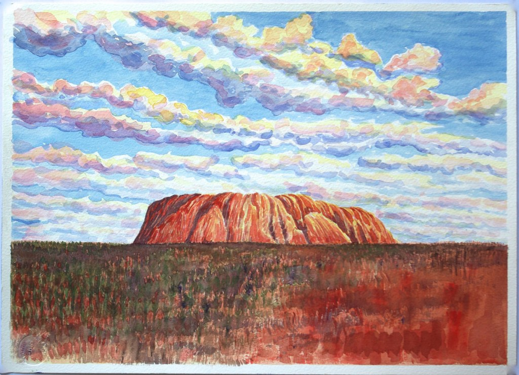 watercolor: Uluru, Ayers Rock, Australia