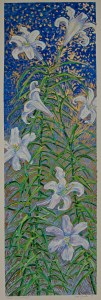 White Trumpet Lilies: acrylic painting