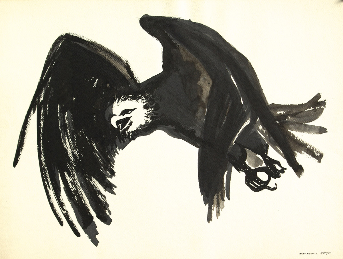 black sumi-e ink: Raven of Death in Flight