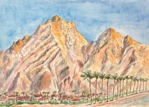 watercolor: Desert Palms Coachella Mountains Palm Springs CA