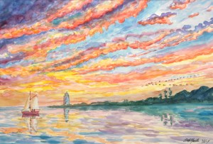 watercolor: Sunset, Key West, Florida