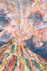 Exploding Volcano, monoprint