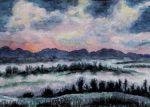 watercolor: Fog, Fall, Vermont Mountains