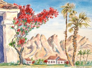 watercolor: 41 Tree, Mountains, Desert Palm, La Quinta, CA