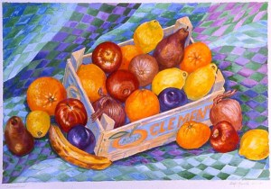 Clementines #1: acrylic painting