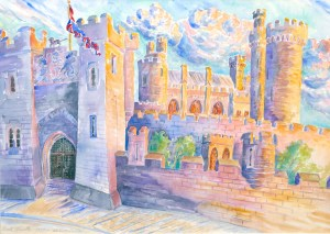 watercolor: Medieval Arches, Warwick Castle, Warwick, England