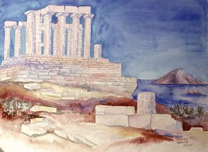 watercolor: Temple of Athena, Cape Sounion, Greece