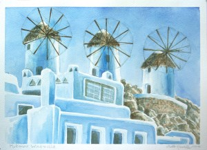 watercolor: Windmills, Mykonos, Greece