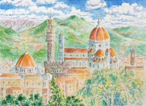 watercolor: Florence, from the Promontory, Italy