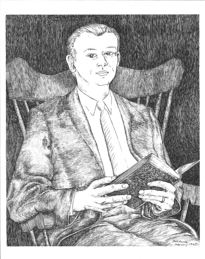 pen on paper portrait of Robert C. Neville