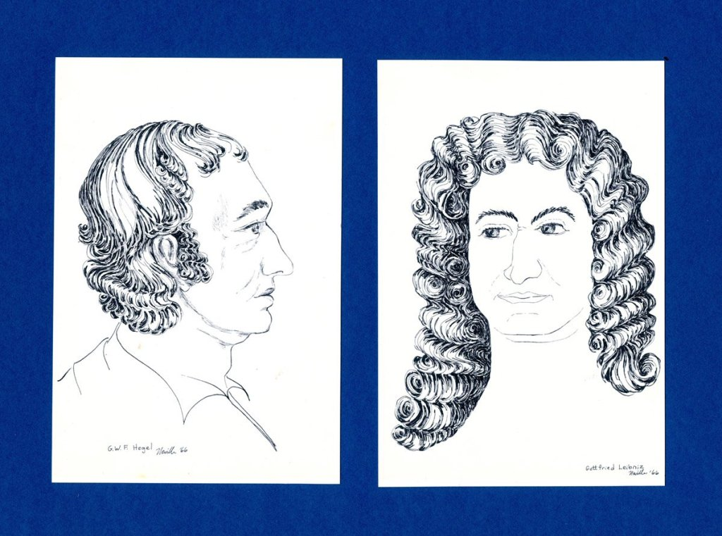 pen on paper portraits of G.W.F. Hegel and Gottfried Leibnitz