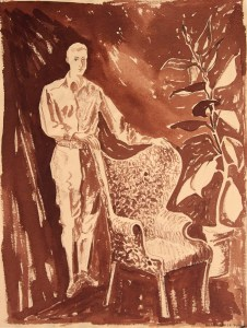 sepia portrait of Robert Neville with batwing chair