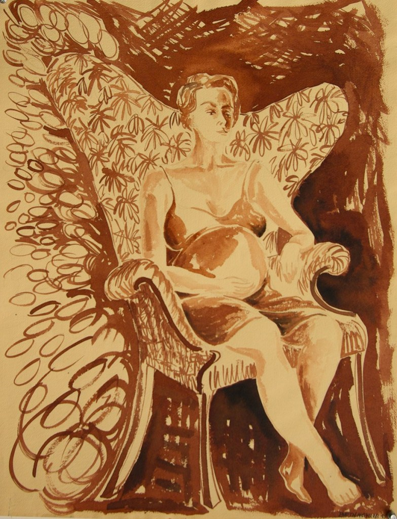 sepia portrait of Beth Neville, Pregnant with Gwendolyn