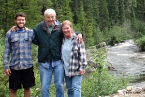 Matthias, Dad and I at our Poudre Canyon campsite
