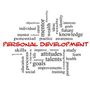 Personal Development Word Cloud Concept in red caps