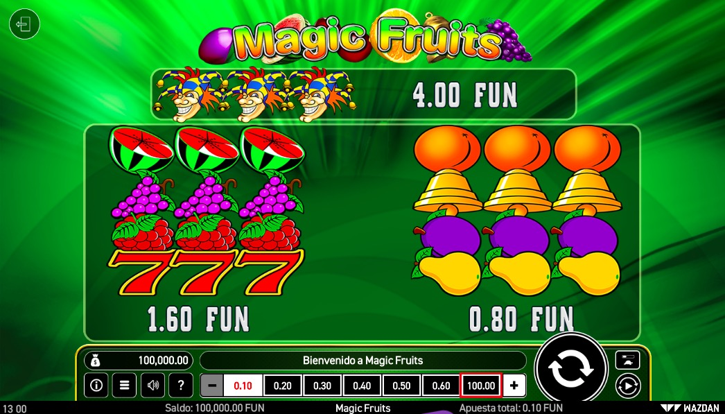 magic-fruits-tabla-de-pagos