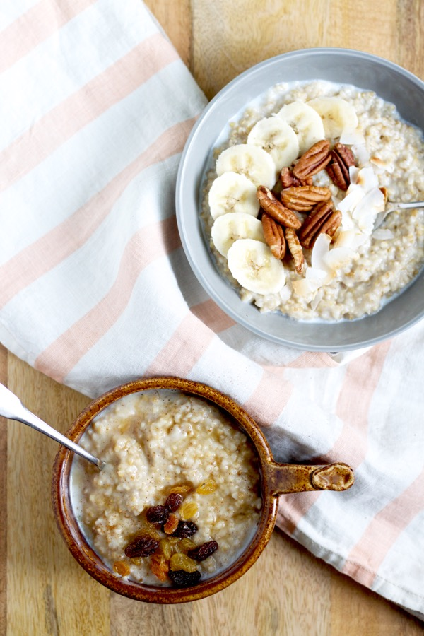 Two hearty bowls of make-ahead steel cut oats with different toppings