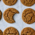 Someone took a bite out of one of those crackly-surfaced gingersnaps