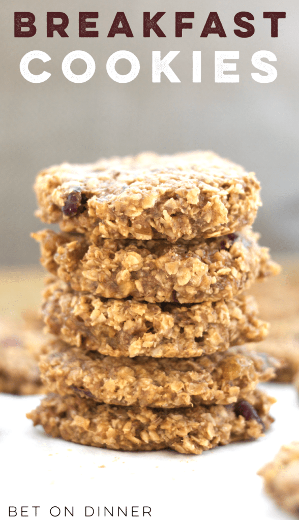 a stack of breakfast cookies packed with oats, almond butter, and your favorite mix-ins