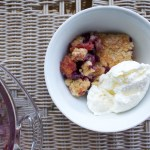 blueberry peach cobbler with vanilla ice cream