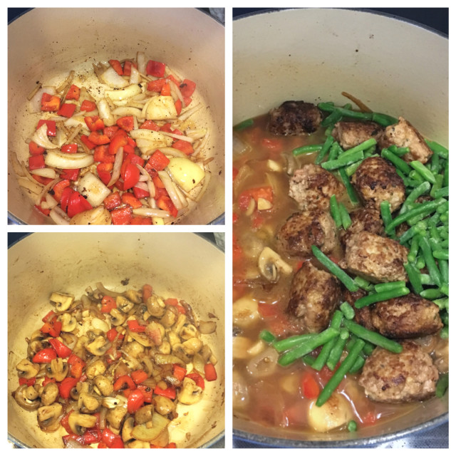 adding ingredients to meatball stew