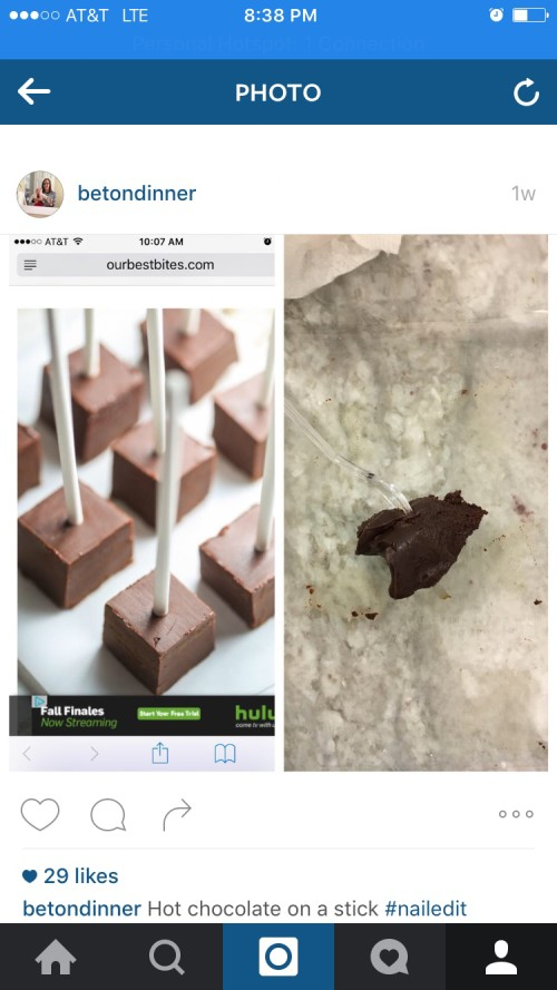 instagram hot chocolate on a stick fail