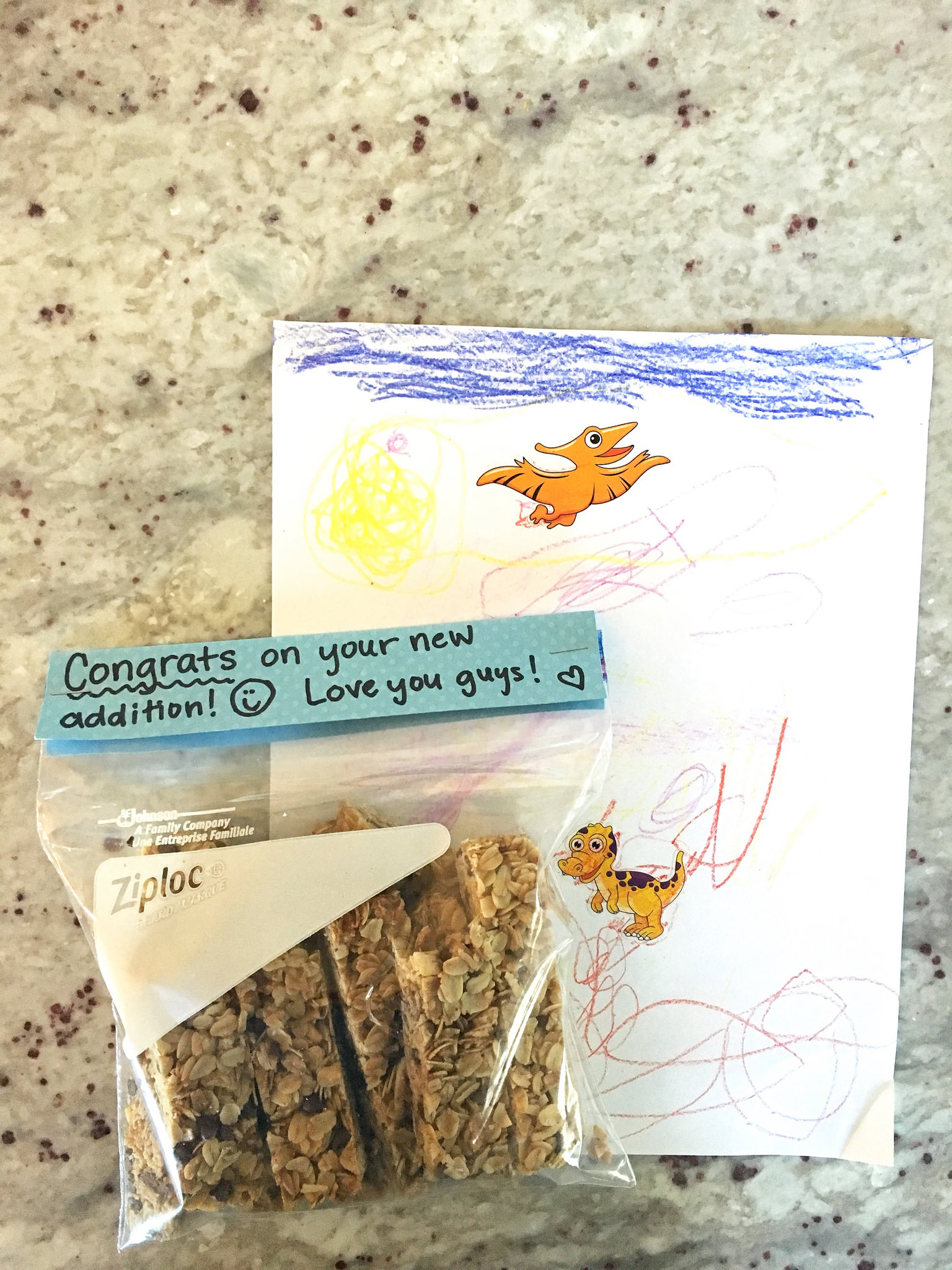 granola bars and a card for friend - kindness antennae