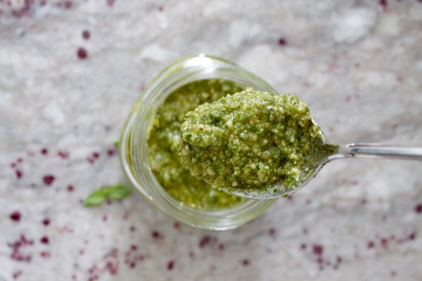 Five minute basil pesto is packed with flavor - the perfect balance of fresh and rich, and there are so many ways to use it.