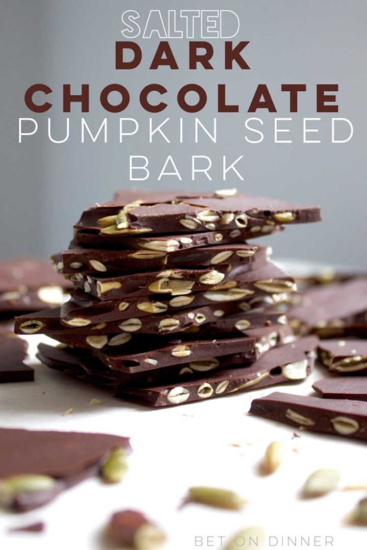 Salted dark chocolate pumpkin seed bark is the perfect crunchy bite to satisfy your fall sweet tooth!