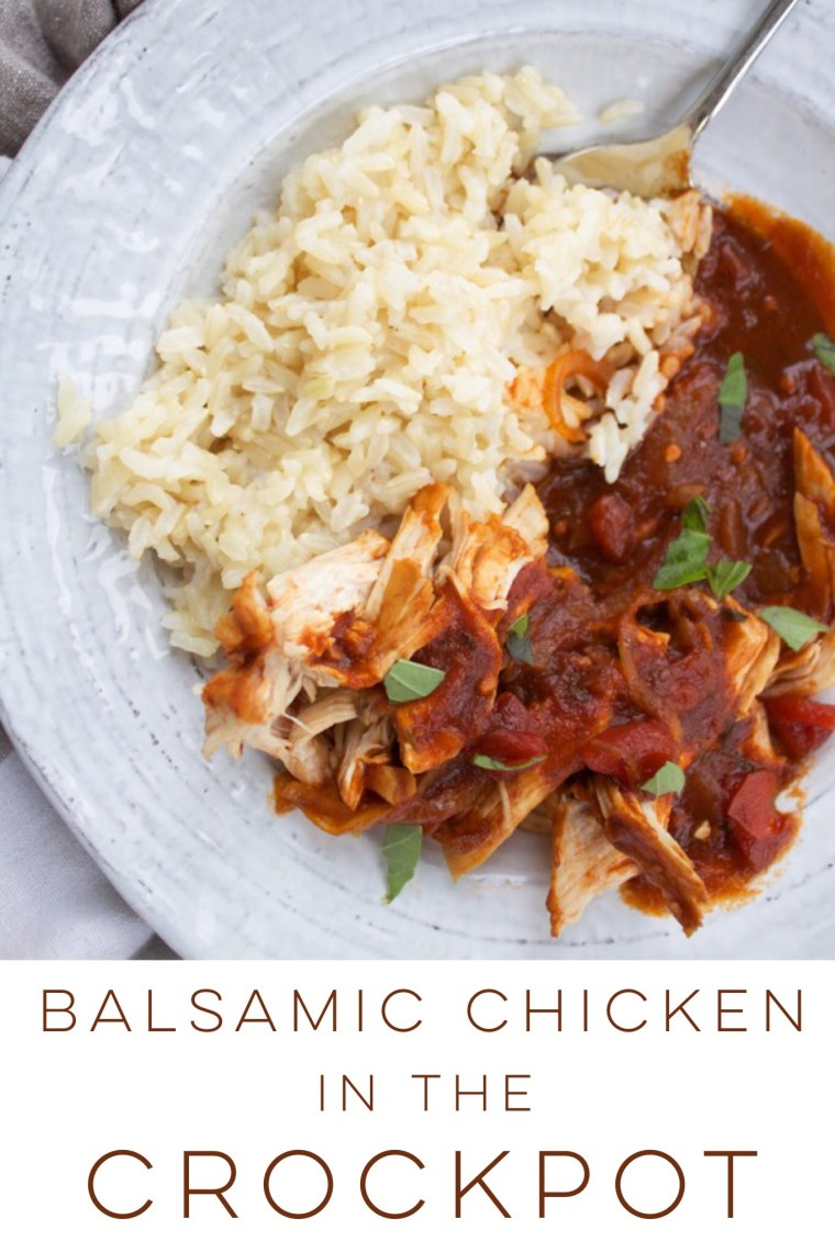 Balsamic chicken is an easy crockpot meal in a tangy tomato sauce!
