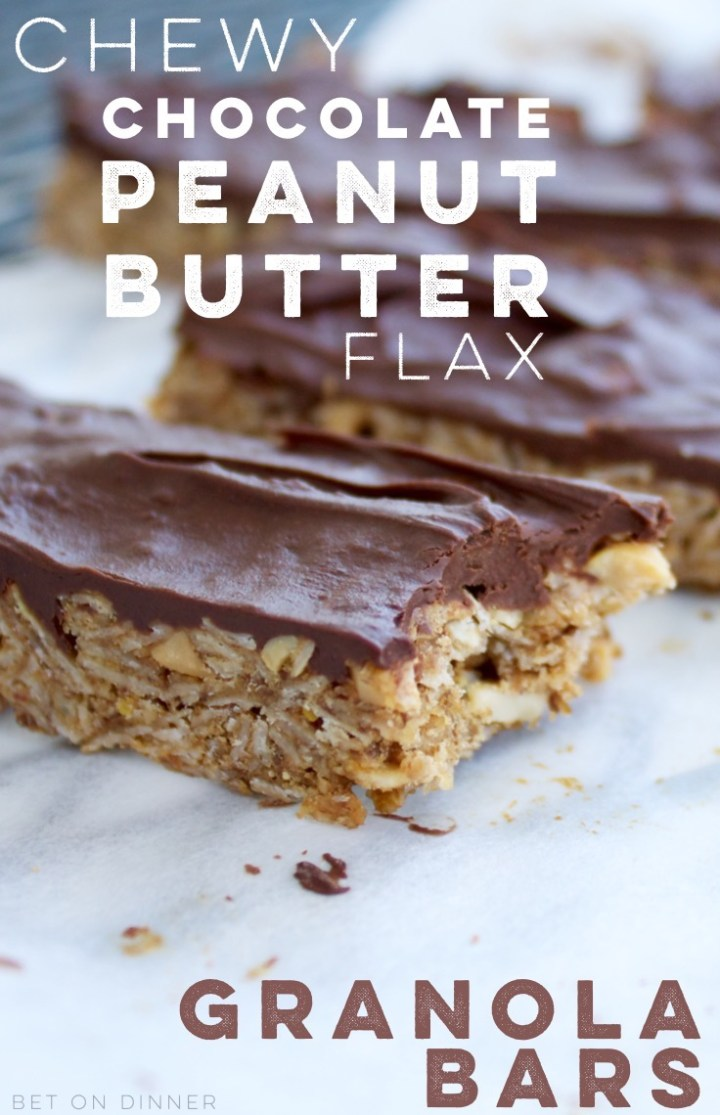 Chewy chocolate peanut butter flax granola bars taste like a candy bar, but are full of healthy ingredients!