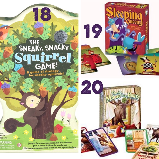 Sneaky Snacky Squirrel game, Sleeping Queens game, There's a Moose in the House game