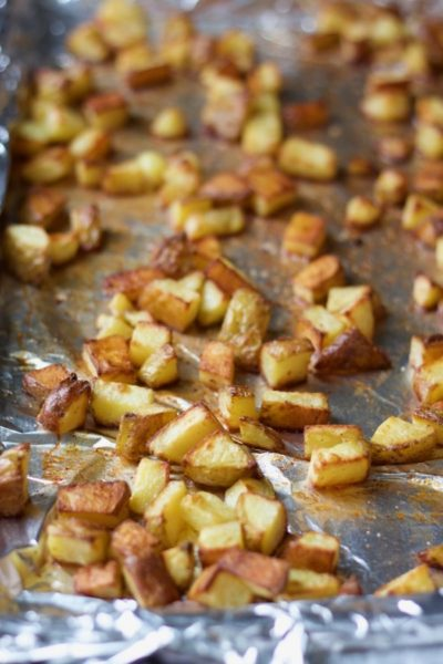 a close-up look at life-changing super crispy roasted potatoes