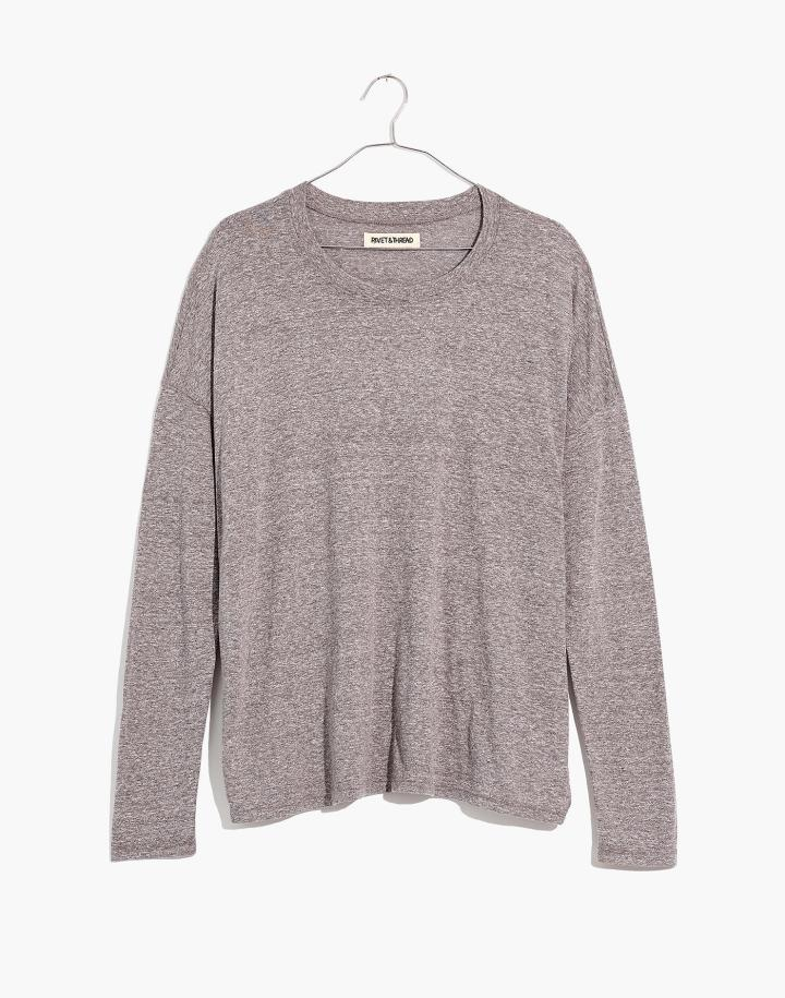long-sleeve gray t-shirt