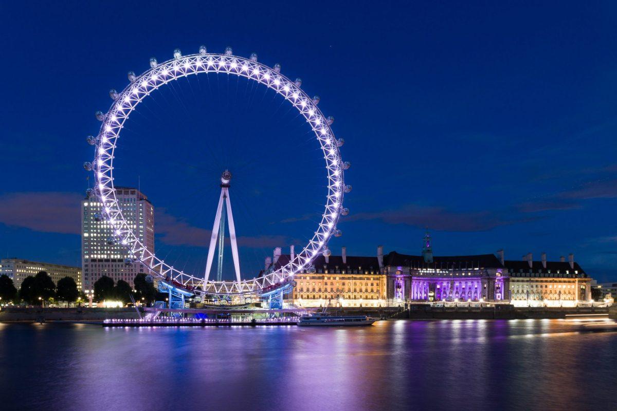 Das London Eye bei Nacht