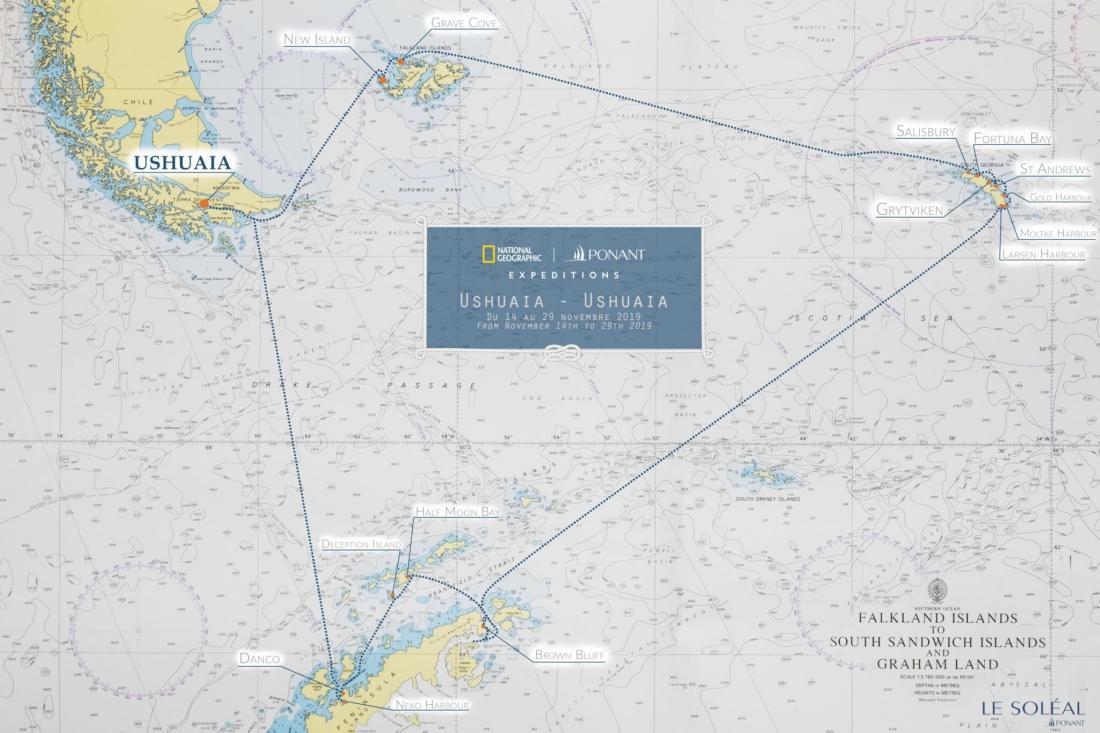 Nautical Chart. Antarktisroute Le Soleal, November 2019