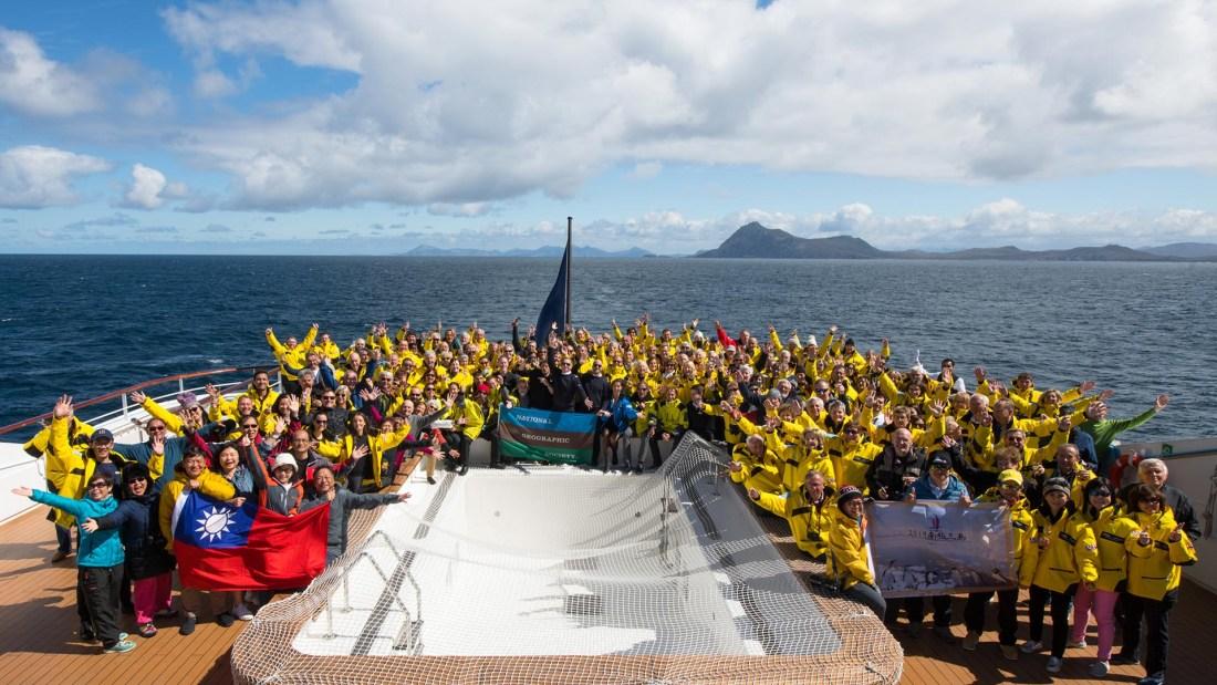 Gäste an Bord der Le Soleal, Ponant. Antarktis Kreuzfahrt im November 2019