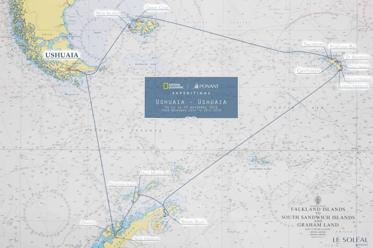 Karte Antarktis Kreuzfahrt