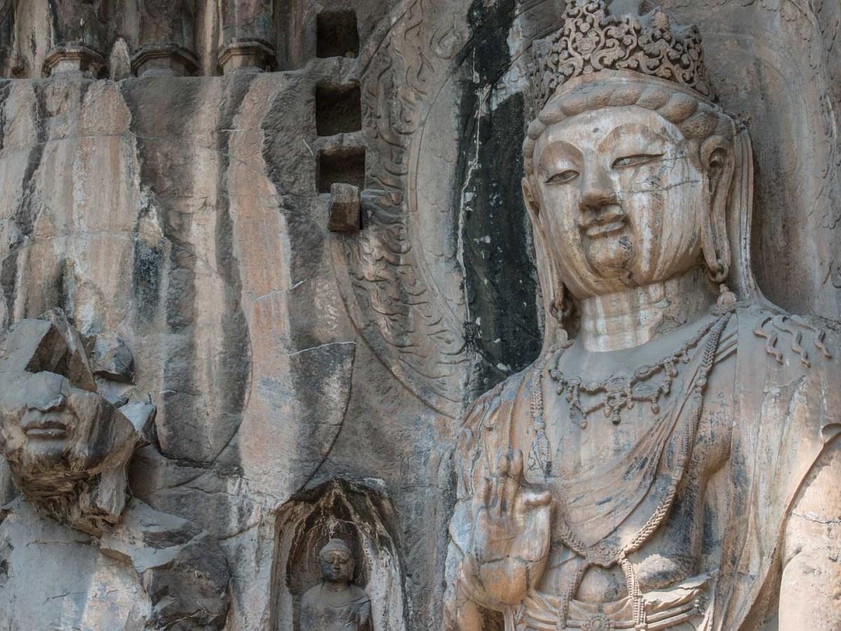 Buddha Statuen Longmen Grotten, Henan