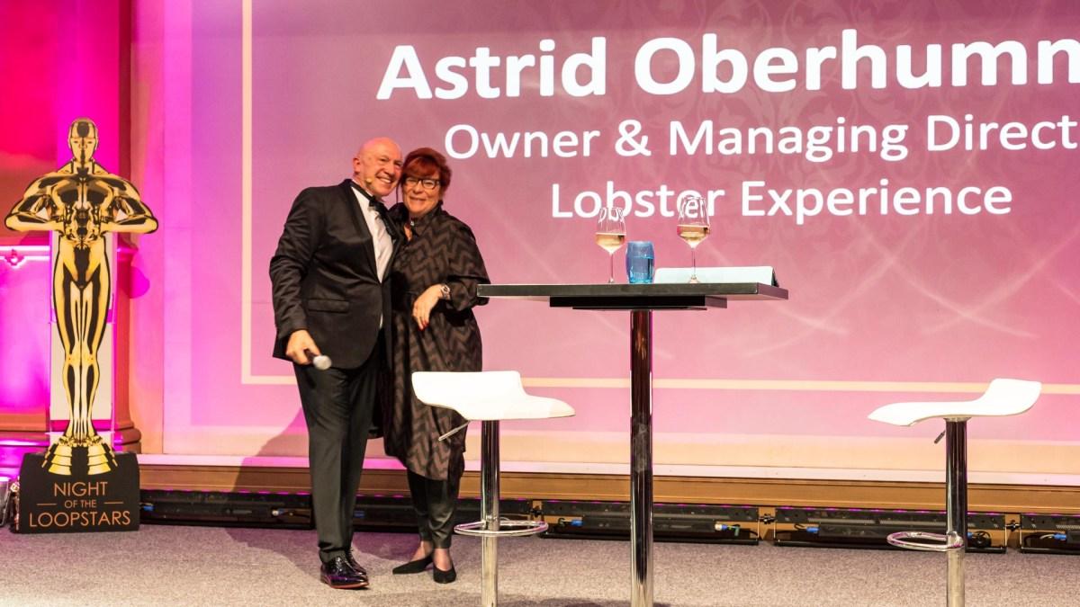 LOOP Gala Frankfurt. Moderator Hans Gesk, Astrid Oberhummer