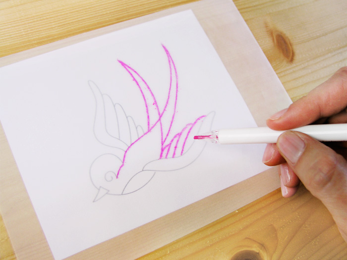 Trace on transparent paper with the Prym pencil    Betsy Sewing