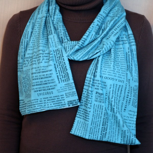 turquoise scarf made from jersey cotton knit with atheist quotes