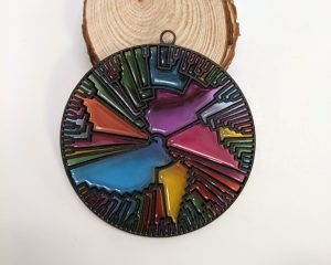 stained glass christmas ornament that shows a phylogenetic tree diagram