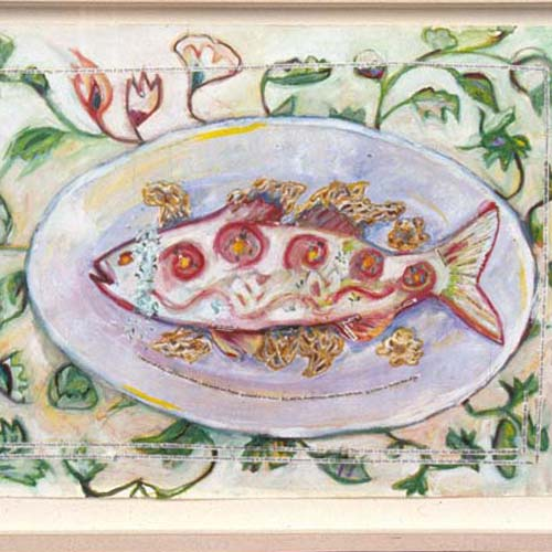 Fish on Plate Oil Painting