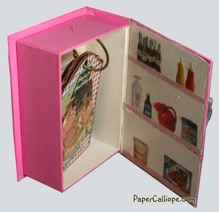 Adorable altered art project by Paper Calliope turns box into kitschy pink refrigerator