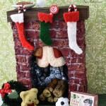 Miniature Santa heads up the chimney on Christmas Eve