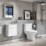 Close Coupled Toilet White Gloss 410mm Vanity Basin Unit Suite Portland Better Bathrooms