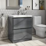 800mm Dark Grey Gloss Floor Standing 2 Drawer Vanity Unit With Basin Portland Better Bathrooms