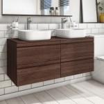 Bath 1200mm Wall Hung Vanity Bathroom Cabinet Unit Oak Effect Ceramic Basin New Douzenis Gr