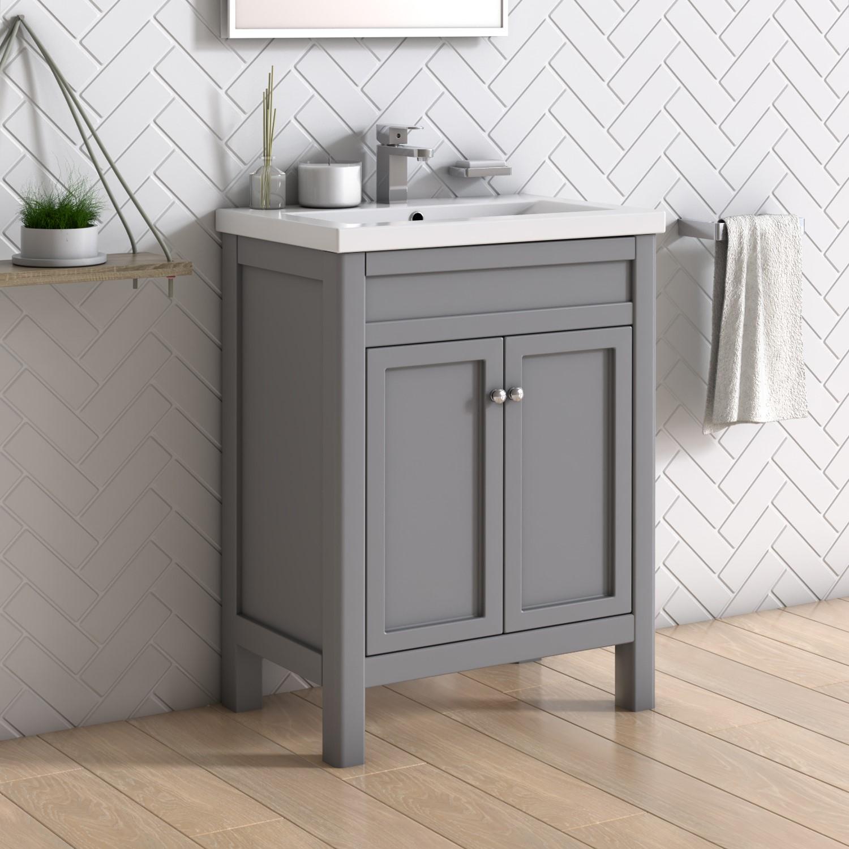 600mm freestanding grey vanity unit with basin avebury